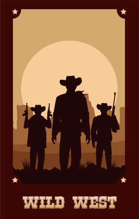 wild west lettering in poster with cowboys and guns vector illustration design Çizim