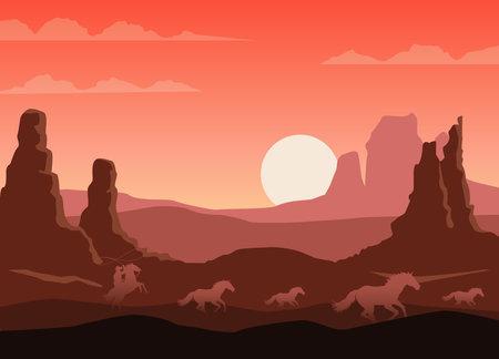 wild west sunset desert scene with cowboy and horses running vector illustration design