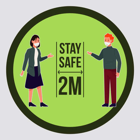 stay safe prevention campaign with couple wearing medical masks vector illustration design