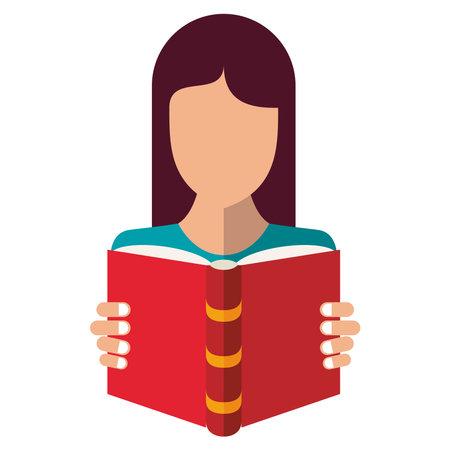 woman reading text book education supply icon vector illustration design Ilustracje wektorowe