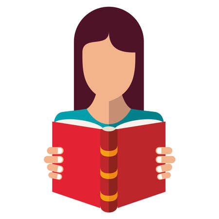 woman reading text book education supply icon vector illustration design Vector Illustration
