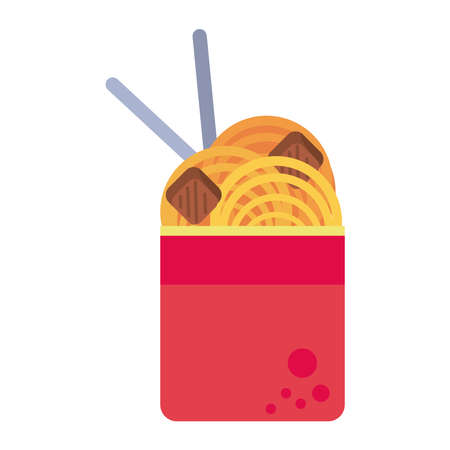 chinese food in pot with chopstick icon vector illustration design