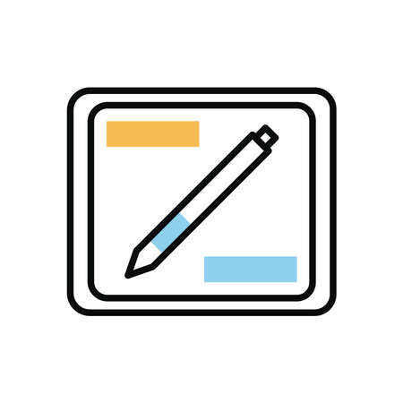 graphic designer board and pen device electronic vector illustration design