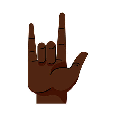 afro hand human rock and roll symbol gesture icon vector illustration design