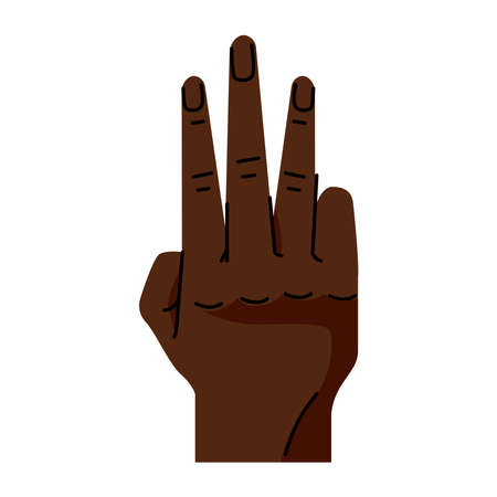 afro hand human number three symbol gesture icon vector illustration design