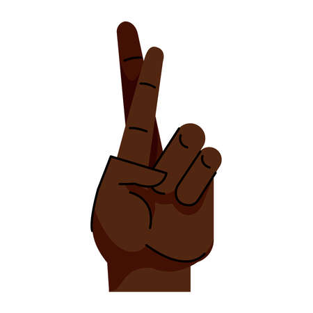 afro hand human easy symbol gesture icon vector illustration design