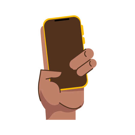 afro hand human lifting smartphone icon vector illustration design