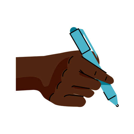 afro hand human writing with pen icon vector illustration design