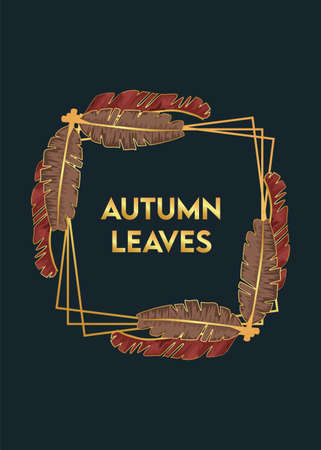 autumn leaves lettering in poster with dry leafs in square frame vector illustration design Illustration