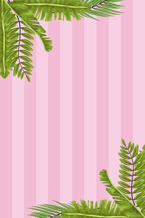green leafs frame in pink background vector illustration design