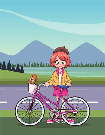 young teenager girl in bicycle anime character in the road vector illustration design