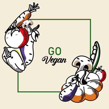 go vegan lettering poster with vegetables in square frame vector illustration design
