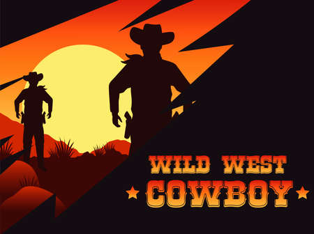 wild west cowboy lettering poster with cowboys in the desert vector illustration design