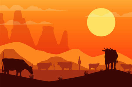 wild west sunset scene with cows vector illustration design