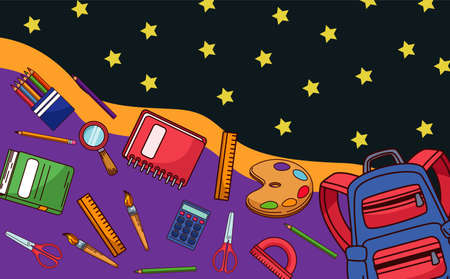 back to school with supplies and stars pattern vector illustration design