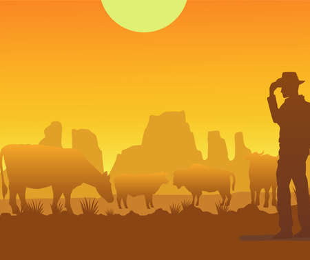 wild west sunset scene with cowboy and cows vector illustration design