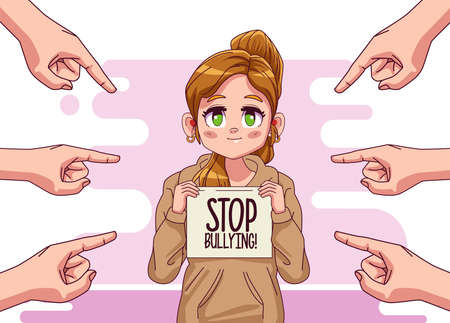 young teenager girl with stop bullying lettering and hands attacking vector illustration design
