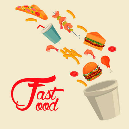 pot with delicious fast food and lettering vector illustration design