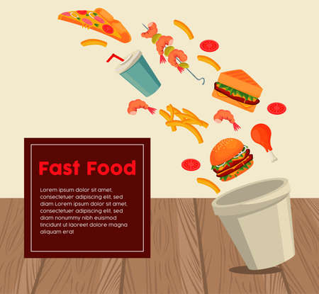 pot with delicious fast food and lettering in square frame vector illustration design
