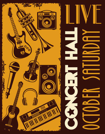live concert hall lettering poster with instruments vector illustration design