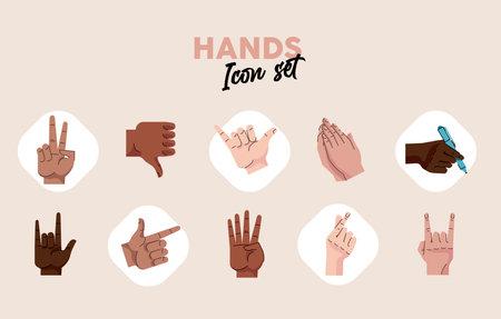 bundle of hands humans symbols gestures icons and lettering vector illustration design
