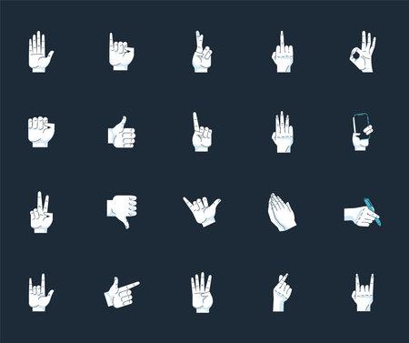 bundle of twenty hands humans symbols gestures in black background vector illustration design