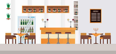 elegant tables and chairs with bar restaurant vector illustration design