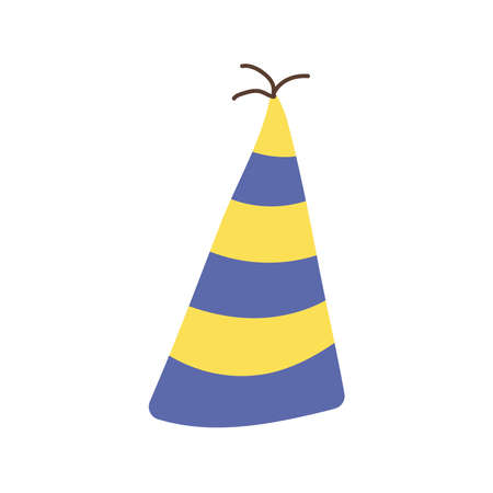 happy birthday hat yellow and blue stripes celebration flat style icon vector illustration design Çizim