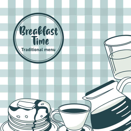 breakfast time lettering in circular frame poster with ingredients in table clothes vector illustration design