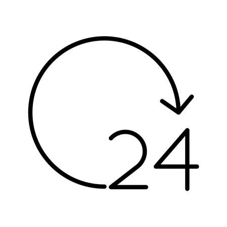 24 hours number with arrow around line style icon vector illustration design