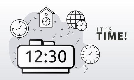 bundle of time clocks line style set icons and lettering vector illustration design