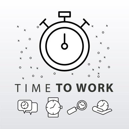 bundle of five time clocks line style set icons and lettering vector illustration design