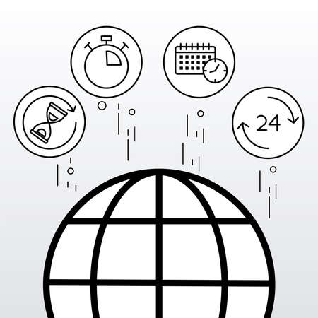 bundle of five time clocks line style set icons vector illustration design