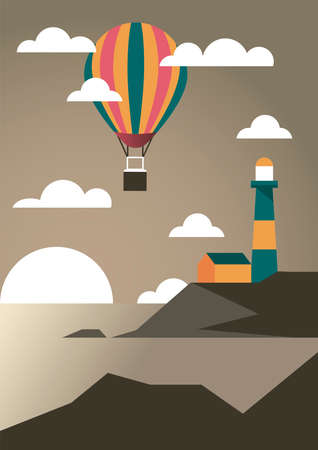 seascape with lighthouse and balloon air hot adventure travel landscape scene vector illustration design