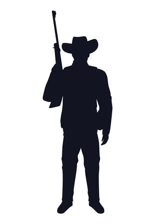 cowboy figure silhouette with rifle character vector illustration design