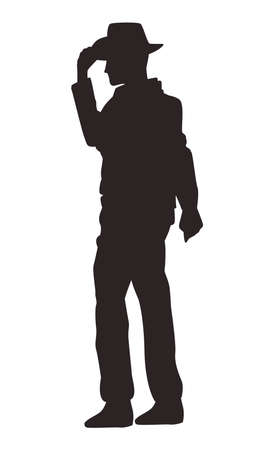 cowboy figure silhouette walking icon vector illustration design