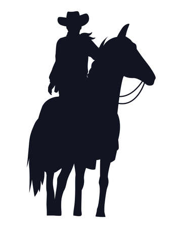 cowboy figure silhouette in horse vector illustration design