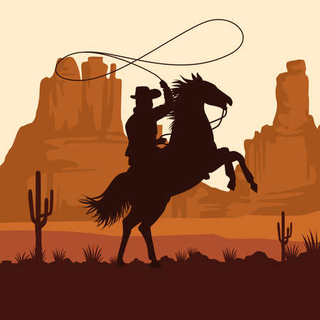 cowboy figure silhouette in horse lassoing in the sunset landscape scene vector illustration design