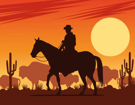 cowboy figure silhouette in horse with cows desert scene vector illustration design