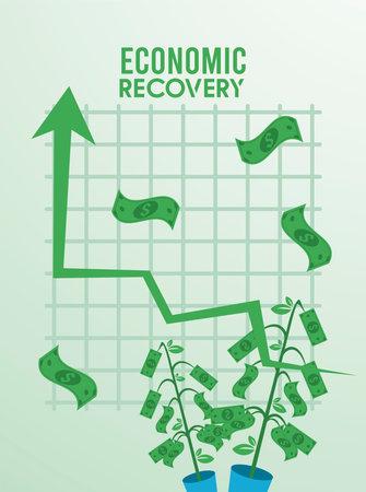 economic recovery statistics arrow with bills plants vector illustration design