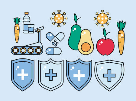 inmune system booster shields with healthy food and set icons vector illustration design Ilustración de vector