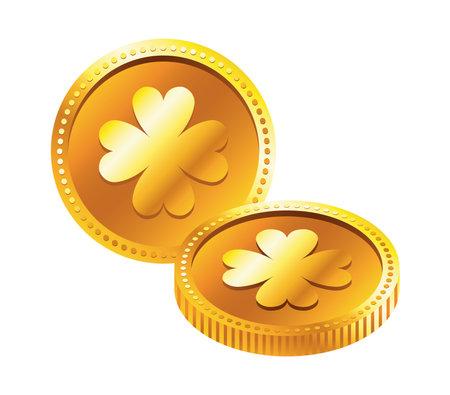 golden coins with clovers saint patrick icon vector illustration design Vector Illustratie