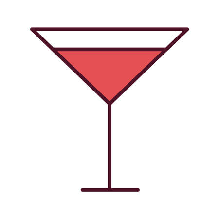 cocktail cup with red beverage line and fill icon vector illustration design