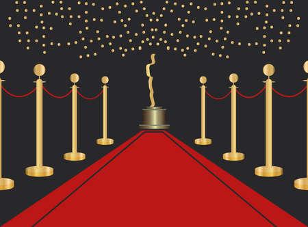 statue and barrier golden in red carpet film awards vector illustration design Vector Illustratie