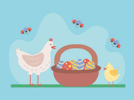 cute hen and chick with eggs painted in basket vector illustration design