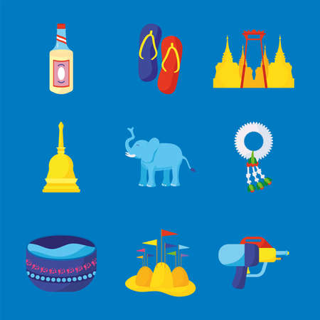 bundle of nine songkran festival set icons vector illustration design