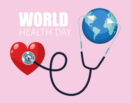 world health day lettering with earth planet and stethoscope in heart vector illustration design