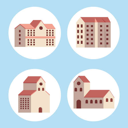 four city buildings set icons