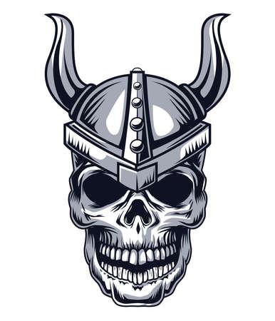 skull with horns drawn style Ilustração Vetorial
