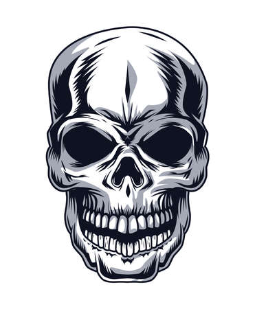 skull head drawn style icon Vector Illustratie